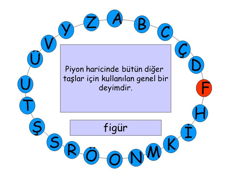 A M Ü V Y Z D Ç C B A U T H F Ş R Ö O İ K N S F Piyon haricinde bütün diğer taşlar için kullanılan genel bir deyimdir. figür