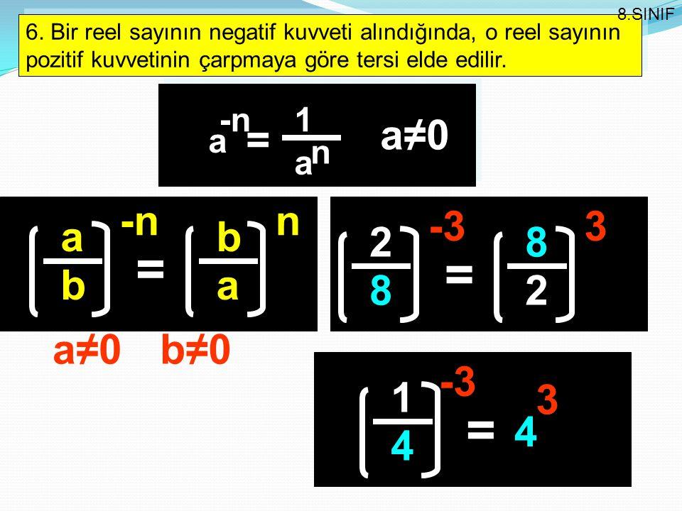 6. Bir reel sayının negatif kuvveti alındığında, o reel sayının pozitif kuvvetinin çarpmaya göre tersi elde edilir. 8.SINIF -n a a 1 = n a≠0a≠0 a b =