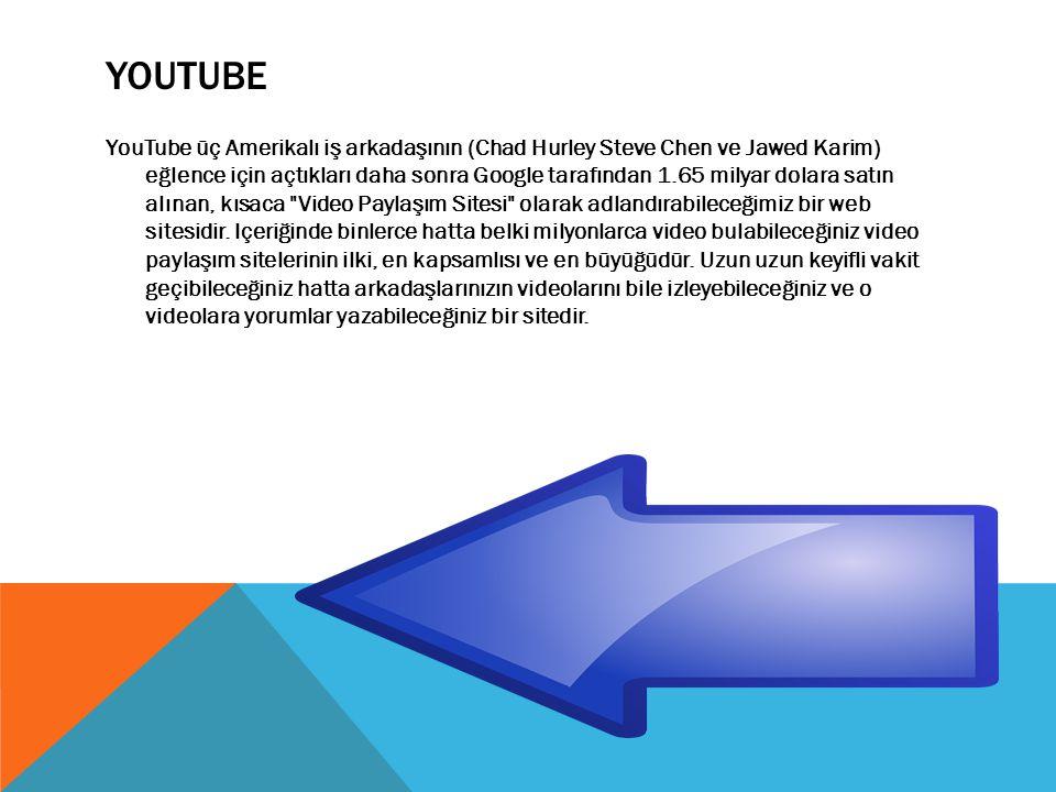 YOUTUBE YouTube üç Amerikalı iş arkadaşının (Chad Hurley Steve Chen ve Jawed Karim) eğlence için açtıkları daha sonra Google tarafından 1.65 milyar dolara satın alınan, kısaca Video Paylaşım Sitesi olarak adlandırabileceğimiz bir web sitesidir.