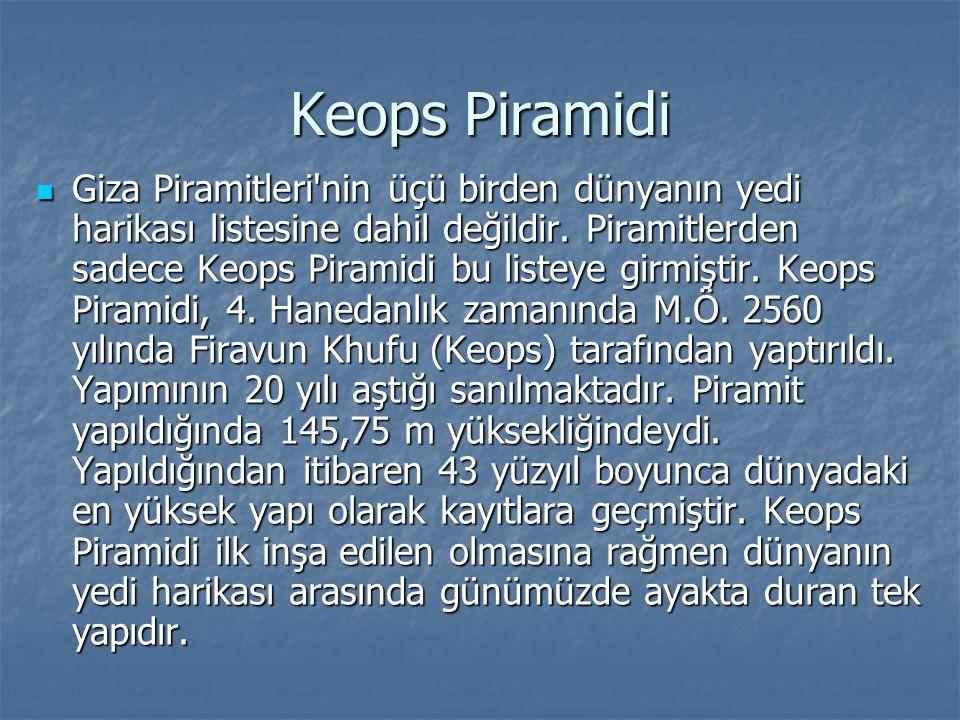 Keops Piramidi Giza Piramitleri'nin üçü birden dünyanın yedi harikası listesine dahil değildir. Piramitlerden sadece Keops Piramidi bu listeye girmişt