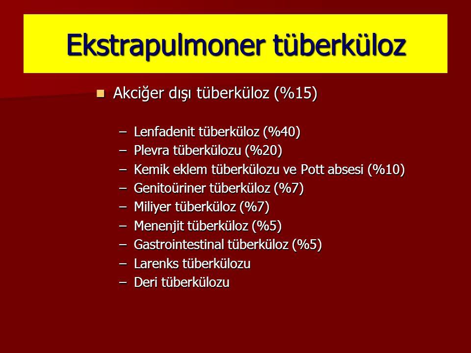 Ekstrapulmoner tüberküloz Akciğer dışı tüberküloz (%15) Akciğer dışı tüberküloz (%15) –Lenfadenit tüberküloz (%40) –Plevra tüberkülozu (%20) –Kemik ek