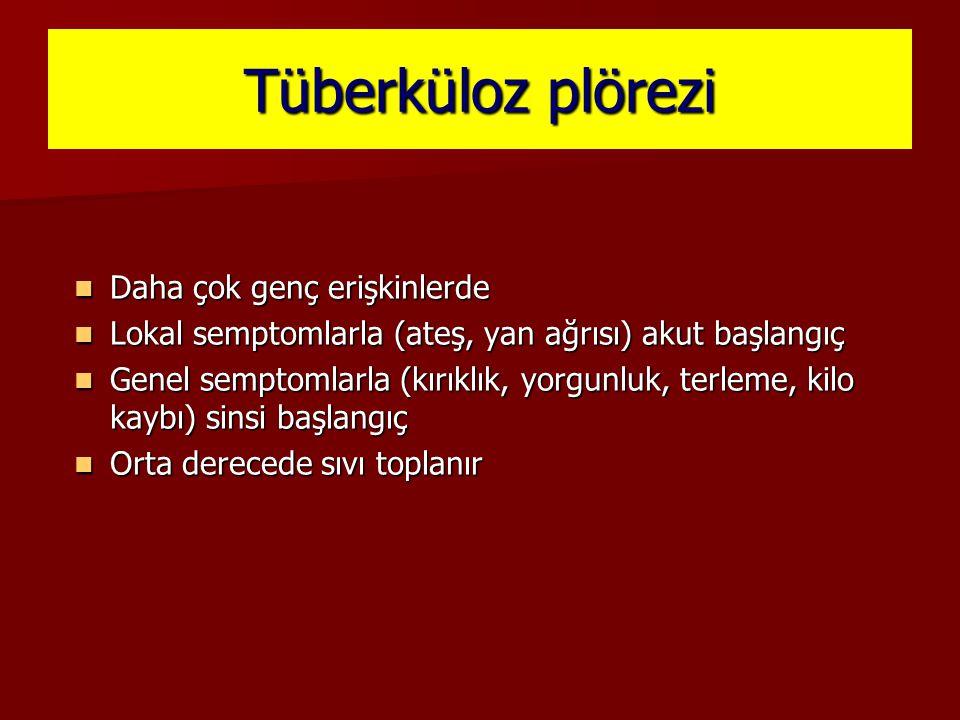 Tüberküloz plörezi Daha çok genç erişkinlerde Daha çok genç erişkinlerde Lokal semptomlarla (ateş, yan ağrısı) akut başlangıç Lokal semptomlarla (ateş