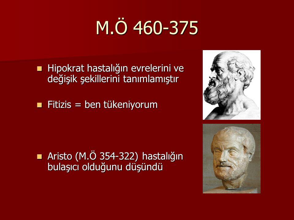 M.Ö 460-375 Hipokrat hastalığın evrelerini ve değişik şekillerini tanımlamıştır Hipokrat hastalığın evrelerini ve değişik şekillerini tanımlamıştır Fi