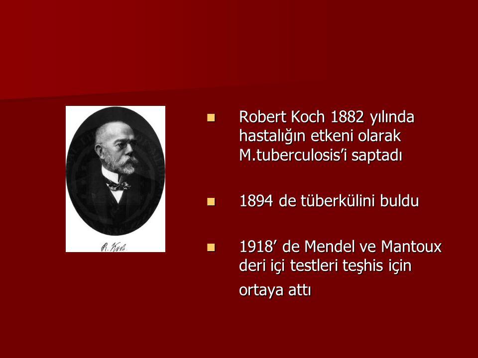Robert Koch 1882 yılında hastalığın etkeni olarak M.tuberculosis'i saptadı Robert Koch 1882 yılında hastalığın etkeni olarak M.tuberculosis'i saptadı