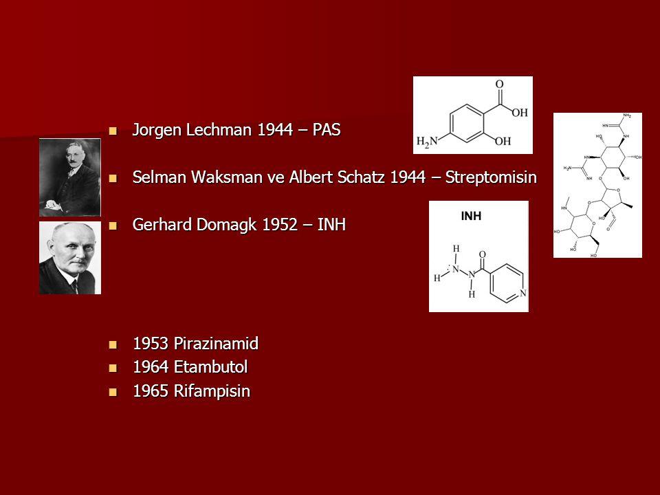Jorgen Lechman 1944 – PAS Jorgen Lechman 1944 – PAS Selman Waksman ve Albert Schatz 1944 – Streptomisin Selman Waksman ve Albert Schatz 1944 – Strepto