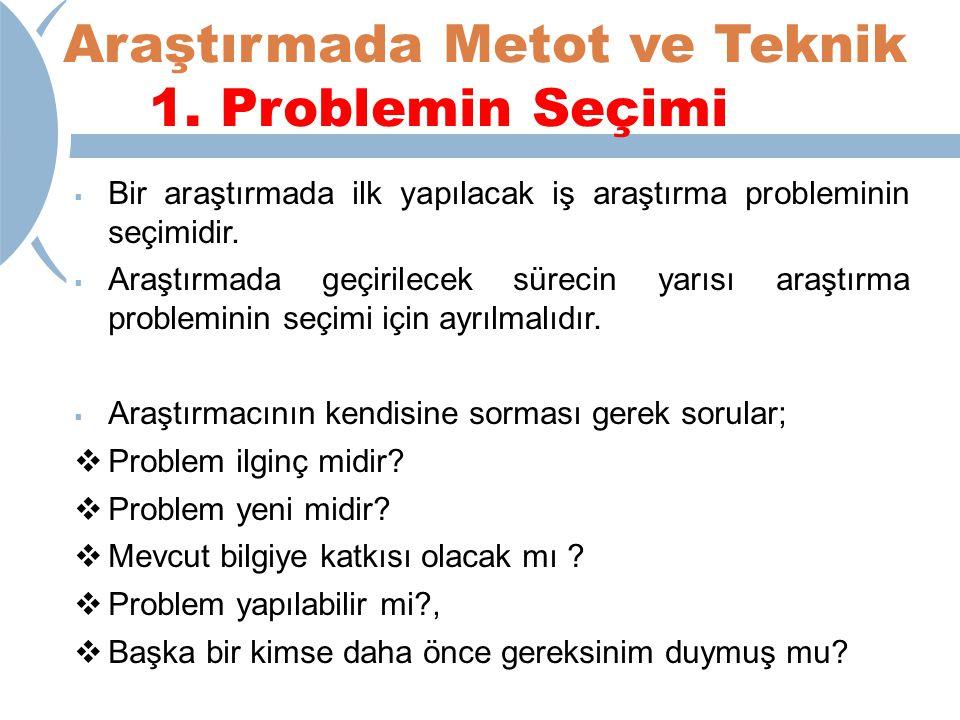 Araştırmada Metot ve Teknik 1.