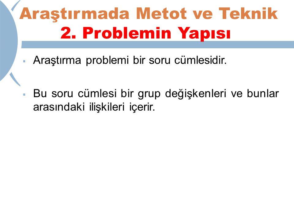 Araştırmada Metot ve Teknik 2.Problemin Yapısı  Araştırma problemi bir soru cümlesidir.