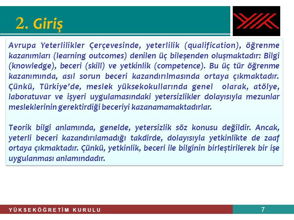 Y Ü K S E K Ö Ğ R E T İ M K U R U L U 7 2. Giriş Avrupa Yeterlilikler Çerçevesinde, yeterlilik (qualification), öğrenme kazanımları (learning outcomes