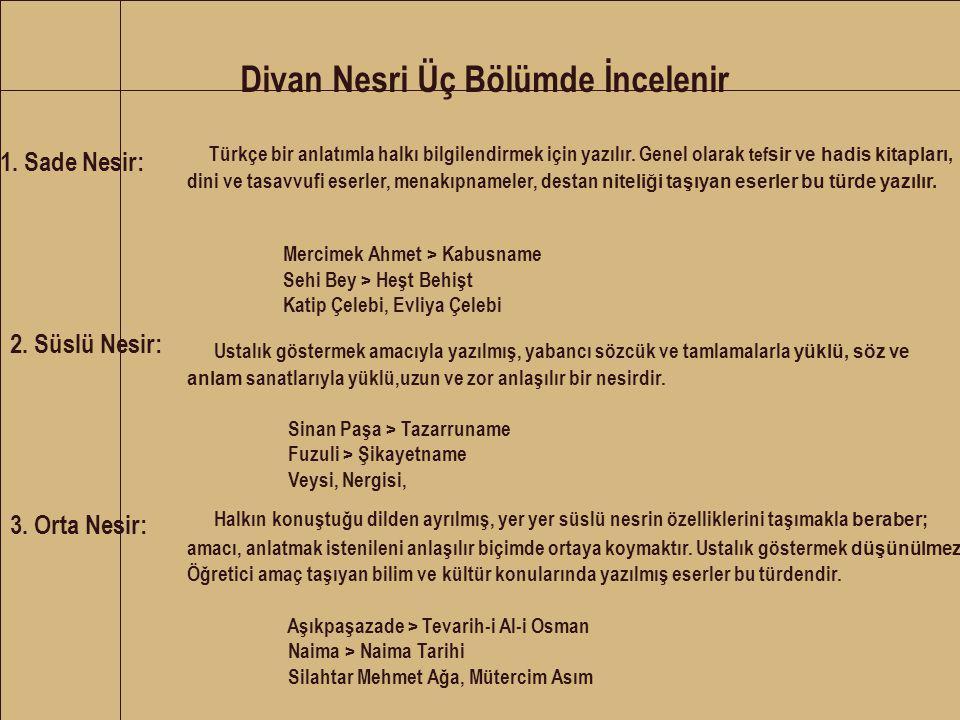 Divan Nesri Üç Bölümde İncelenir 1. Sade Nesir: Türkçe bir anlatımla halkı bilgilendirmek için yazılır. Genel olarak tef sir ve hadis kitapları, dini