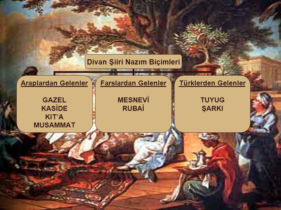 Divan Şiiri Nazım Biçimleri Araplardan Gelenler GAZEL KASİDE KIT'A MUSAMMAT Farslardan Gelenler MESNEVİ RUBAİ Türklerden Gelenler TUYUG ŞARKI
