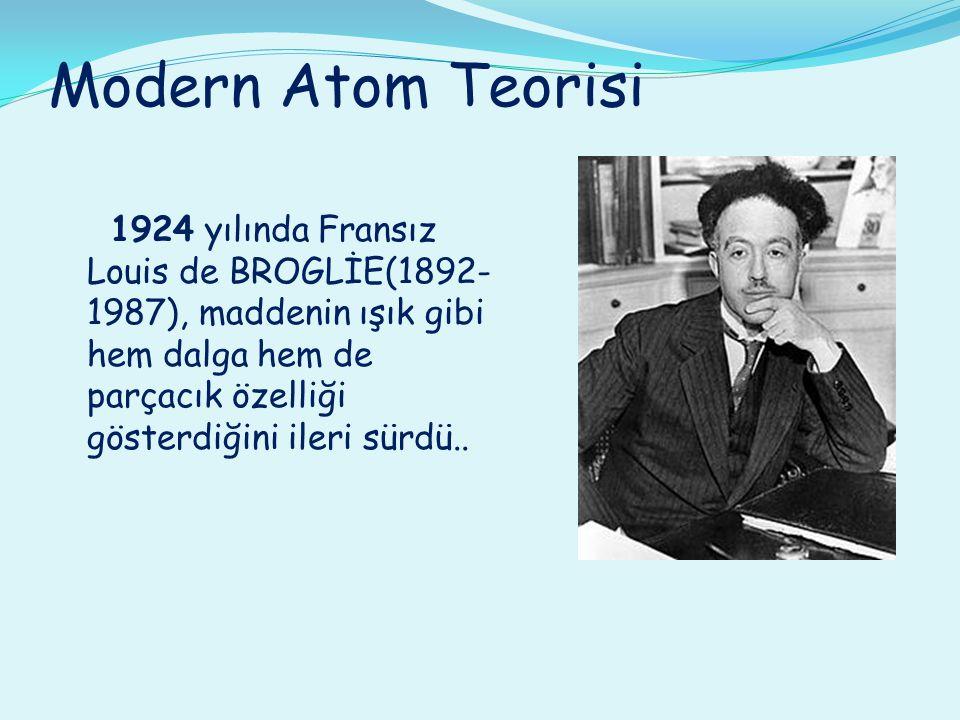 Modern Atom Teorisi 1924 yılında Fransız Louis de BROGLİE(1892- 1987), maddenin ışık gibi hem dalga hem de parçacık özelliği gösterdiğini ileri sürdü.
