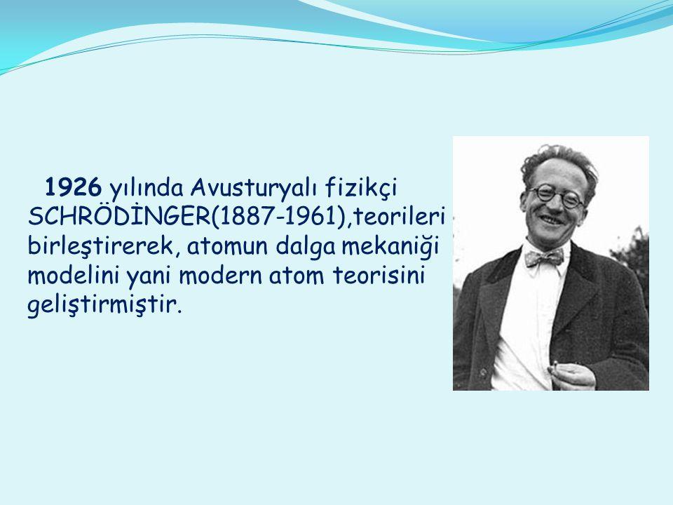 1926 yılında Avusturyalı fizikçi SCHRÖDİNGER(1887-1961),teorileri birleştirerek, atomun dalga mekaniği modelini yani modern atom teorisini geliştirmiş