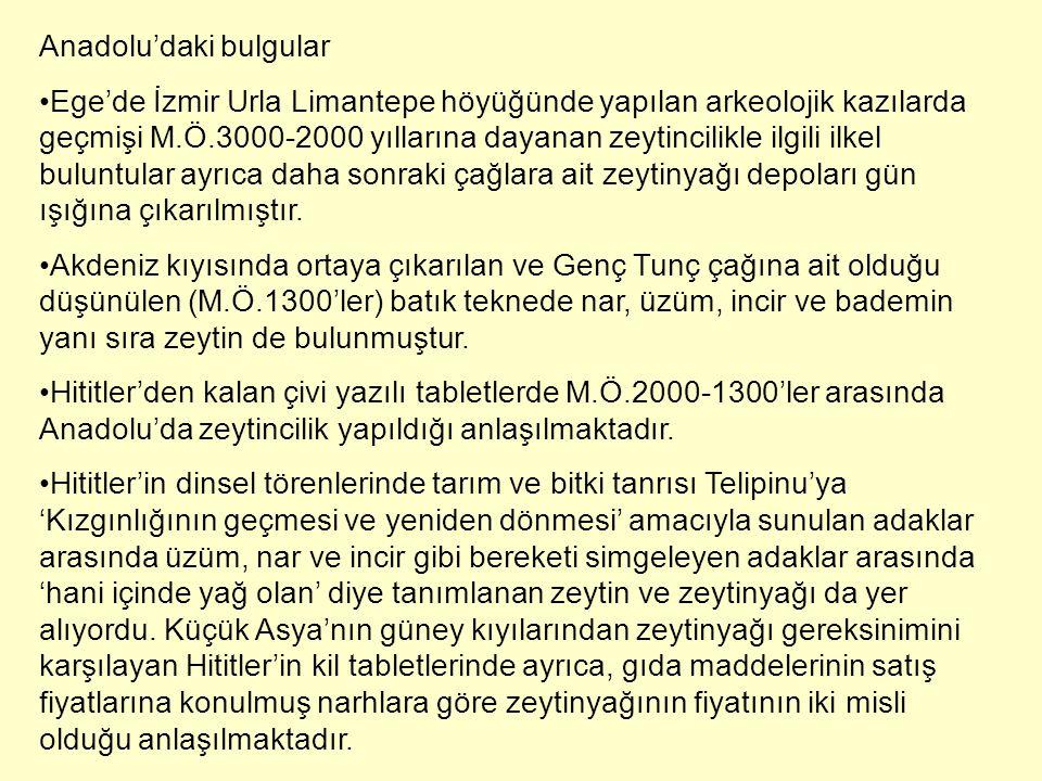 Anadolu'daki bulgular Ege'de İzmir Urla Limantepe höyüğünde yapılan arkeolojik kazılarda geçmişi M.Ö.3000-2000 yıllarına dayanan zeytincilikle ilgili