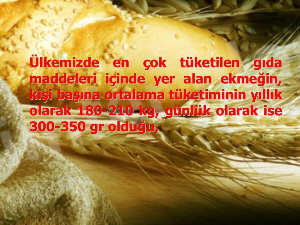 Ülkemizde en çok tüketilen gıda maddeleri içinde yer alan ekmeğin, kişi başına ortalama tüketiminin yıllık olarak 180-210 kg, günlük olarak ise 300-35