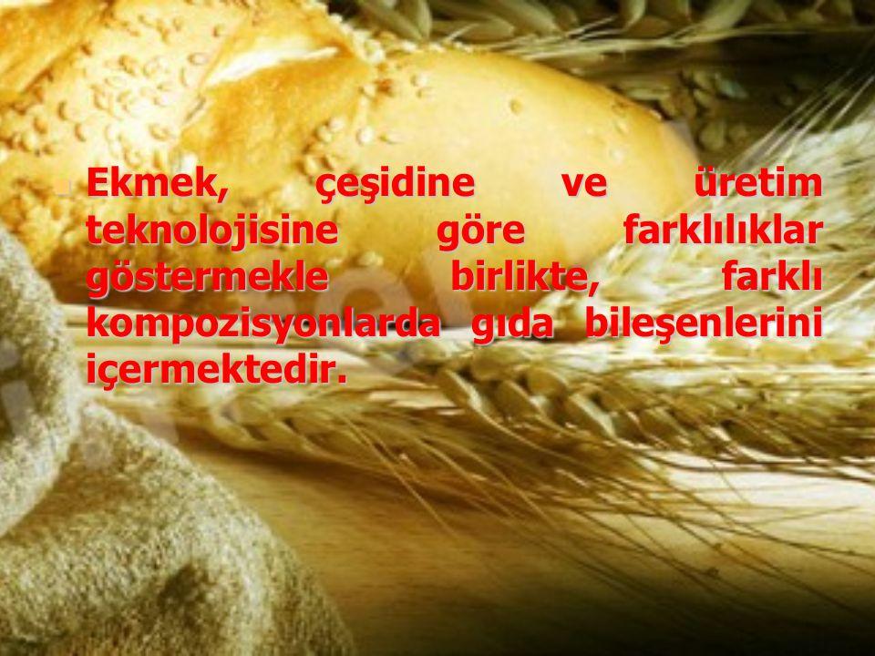 Ekmek, çeşidine ve üretim teknolojisine göre farklılıklar göstermekle birlikte, farklı kompozisyonlarda gıda bileşenlerini içermektedir. Ekmek, çeşidi