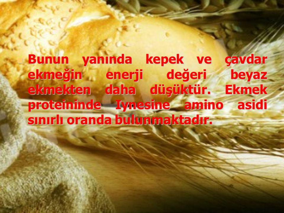 Bunun yanında kepek ve çavdar ekmeğin enerji değeri beyaz ekmekten daha düşüktür. Ekmek proteininde Iynesine amino asidi sınırlı oranda bulunmaktadır.