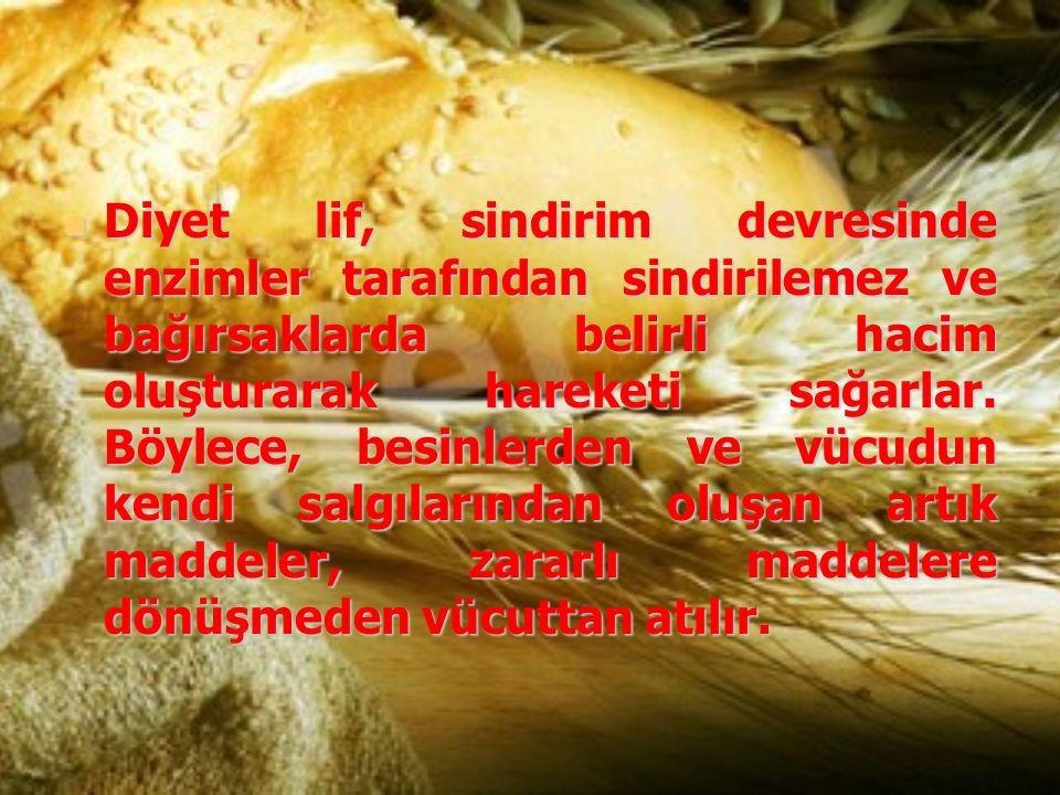 Diyet lif, sindirim devresinde enzimler tarafından sindirilemez ve bağırsaklarda belirli hacim oluşturarak hareketi sağarlar. Böylece, besinlerden ve
