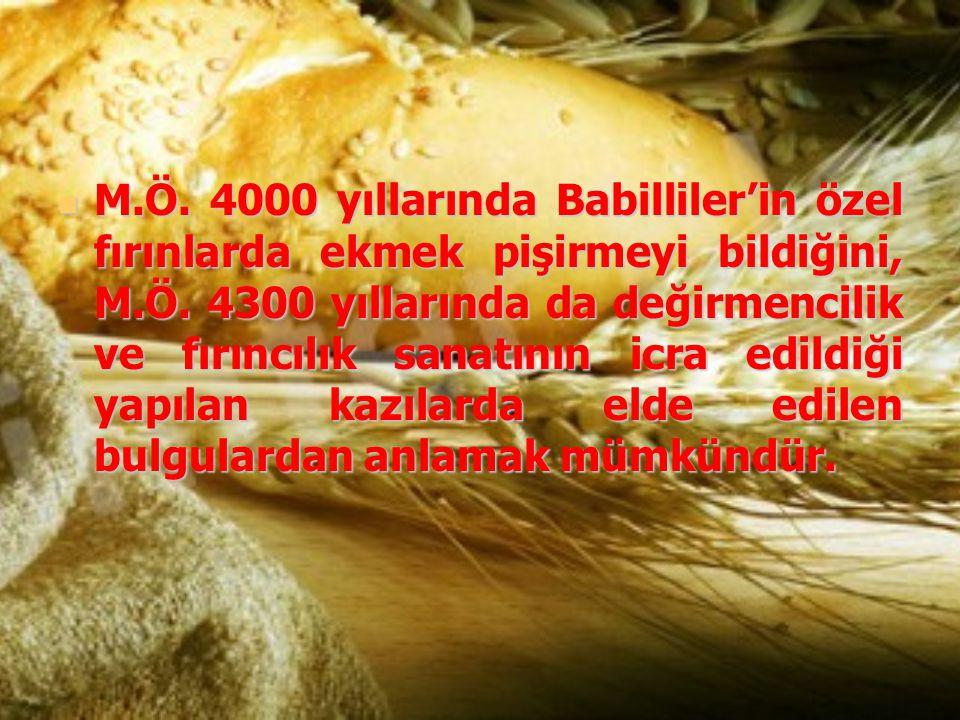 M.Ö. 4000 yıllarında Babilliler'in özel fırınlarda ekmek pişirmeyi bildiğini, M.Ö. 4300 yıllarında da değirmencilik ve fırıncılık sanatının icra edild