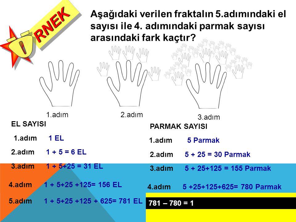 RNEKRNEK 1.adım2.adım 3.adım Aşağıdaki verilen fraktalın 5.adımındaki el sayısı ile 4. adımındaki parmak sayısı arasındaki fark kaçtır? 1.adım1 EL EL