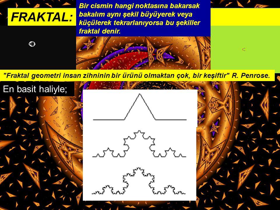 FRAKTAL: Bir cismin hangi noktasına bakarsak bakalım aynı şekil büyüyerek veya küçülerek tekrarlanıyorsa bu şekiller fraktal denir.