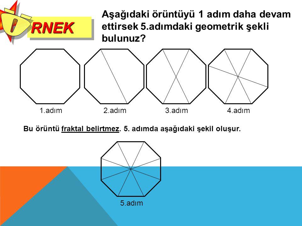RNEKRNEK Aşağıdaki örüntüyü 1 adım daha devam ettirsek 5.adımdaki geometrik şekli bulunuz? 1.adım 2.adım3.adım4.adım Bu örüntü fraktal belirtmez. 5. a