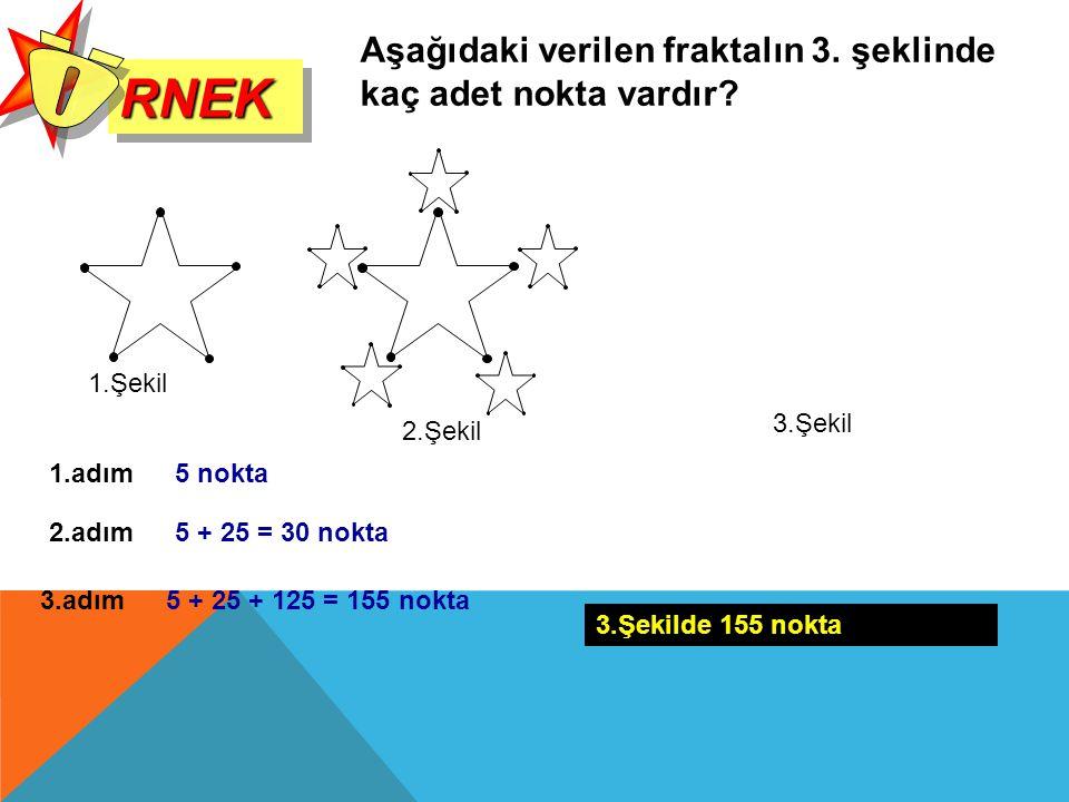 RNEKRNEK Aşağıdaki verilen fraktalın 3. şeklinde kaç adet nokta vardır? 1.adım5 nokta 2.adım5 + 25 = 30 nokta 3.adım5 + 25 + 125 = 155 nokta 3.Şekilde