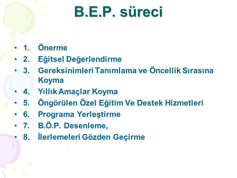 B.E.P. süreci 1.Önerme 2. Eğitsel Değerlendirme 3.Gereksinimleri Tanımlama ve Öncellik Sırasına Koyma 4.Yıllık Amaçlar Koyma 5.Öngörülen Özel Eğitim V