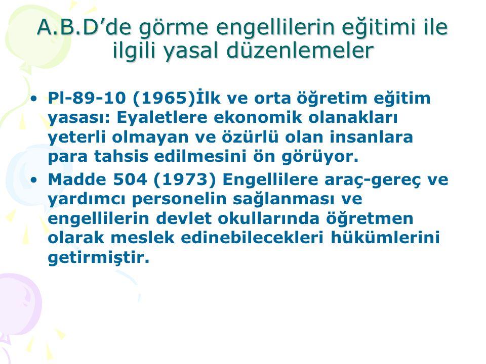 A.B.D'de görme engellilerin eğitimi ile ilgili yasal düzenlemeler Pl-89-10 (1965)İlk ve orta öğretim eğitim yasası: Eyaletlere ekonomik olanakları yet