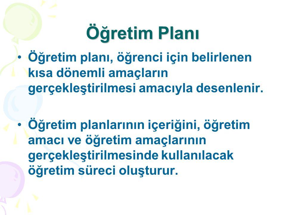 Öğretim Planı Öğretim planı, öğrenci için belirlenen kısa dönemli amaçların gerçekleştirilmesi amacıyla desenlenir. Öğretim planlarının içeriğini, öğr