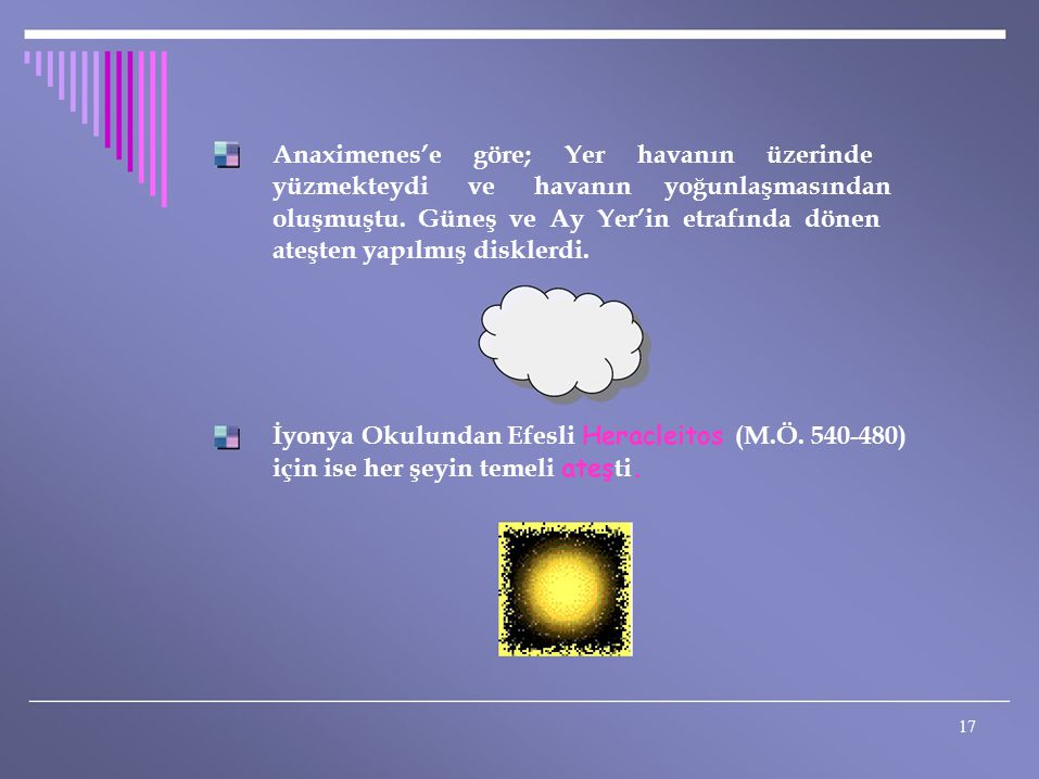 Anaximenes'e göre; Yer havanın üzerinde yüzmekteydi ve havanın yoğunlaşmasından oluşmuştu. Güneş ve Ay Yer'in etrafında dönen ateşten yapılmış diskler