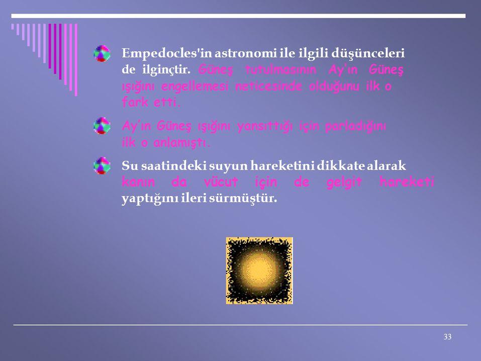 Empedocles'in astronomi ile ilgili düşünceleri de ilginçtir. Güneş tutulmasının Ay'ın Güneş ışığını engellemesi neticesinde olduğunu ilk o fark etti.