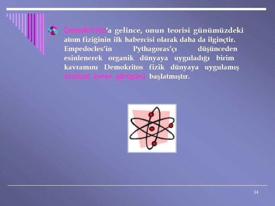 Demokritos 'a gelince, onun teorisi günümüzdeki atom fiziğinin ilk habercisi olarak daha da ilginçtir. Empedocles'in Pythagoras'çı düşünceden esinlene
