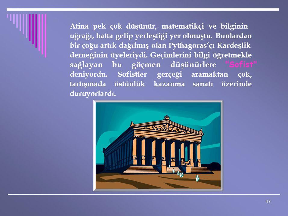 Atina pek çok düşünür, matematikçi ve bilginin uğrağı, hatta gelip yerleştiği yer olmuştu. Bunlardan bir çoğu artık dağılmış olan Pythagoras'çı Kardeş