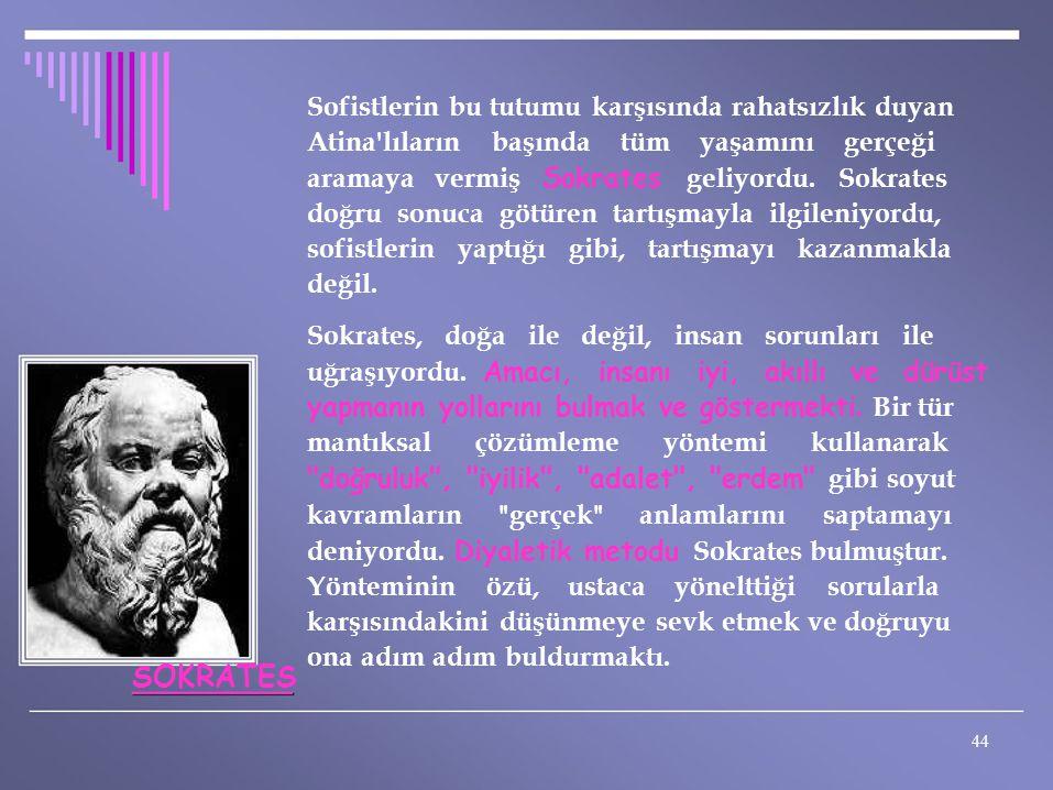 Sofistlerin bu tutumu karşısında rahatsızlık duyan Atina'lıların başında tüm yaşamını gerçeği aramaya vermiş Sokrates geliyordu. Sokrates doğru sonuca