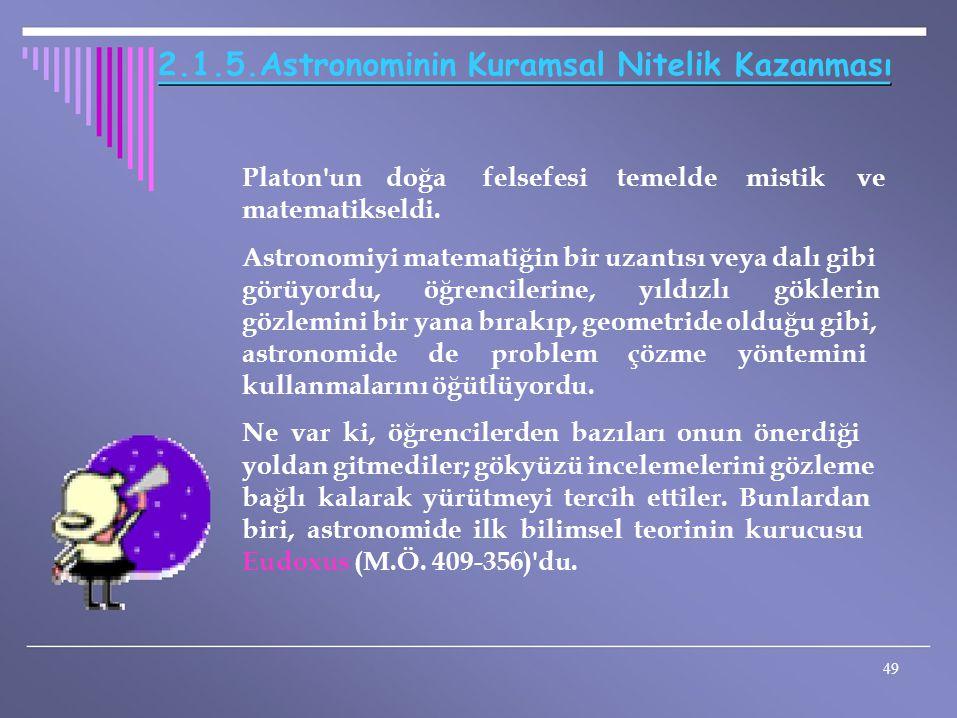 2.1.5.Astronominin Kuramsal Nitelik Kazanması Platon'un doğa matematikseldi. felsefesitemeldemistikve Astronomiyi matematiğin bir uzantısı veya dalı g