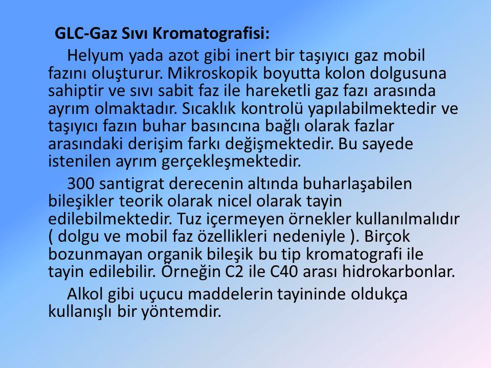 GLC-Gaz Sıvı Kromatografisi: Helyum yada azot gibi inert bir taşıyıcı gaz mobil fazını oluşturur. Mikroskopik boyutta kolon dolgusuna sahiptir ve sıvı