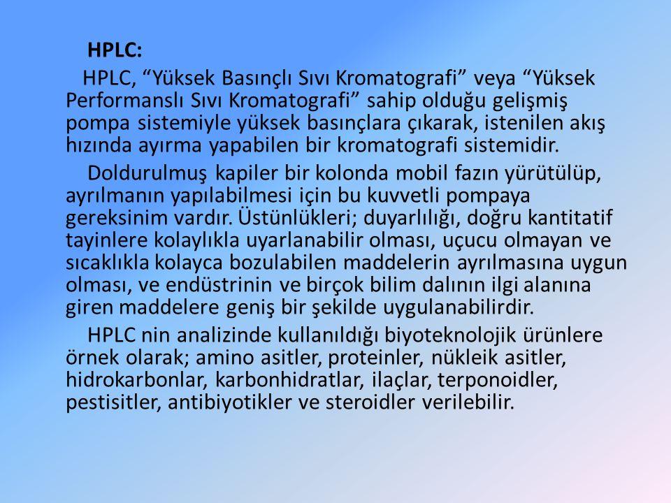 """HPLC: HPLC, """"Yüksek Basınçlı Sıvı Kromatografi"""" veya """"Yüksek Performanslı Sıvı Kromatografi"""" sahip olduğu gelişmiş pompa sistemiyle yüksek basınçlara"""