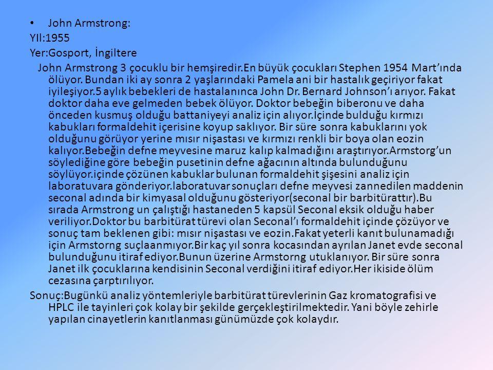 John Armstrong: YIl:1955 Yer:Gosport, İngiltere John Armstrong 3 çocuklu bir hemşiredir.En büyük çocukları Stephen 1954 Mart'ında ölüyor. Bundan iki a