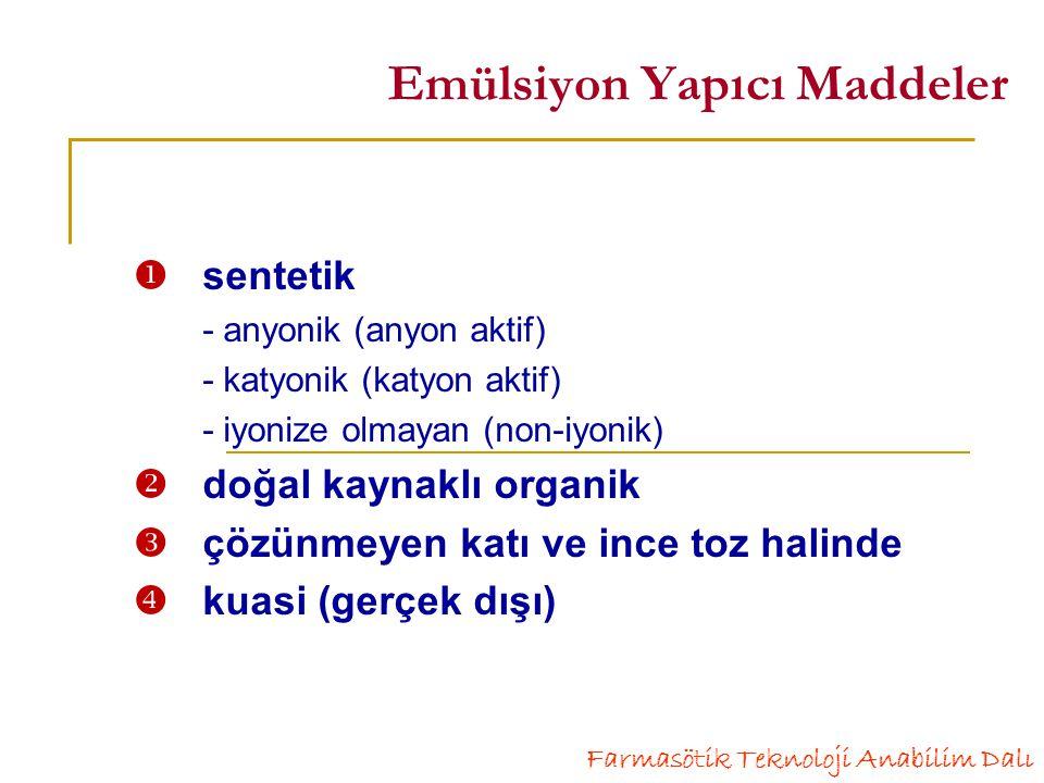Emülsiyon Yapıcı Maddeler  sentetik - anyonik (anyon aktif) - katyonik (katyon aktif) - iyonize olmayan (non-iyonik)  doğal kaynaklı organik  çözünmeyen katı ve ince toz halinde  kuasi (gerçek dışı) Farmasötik Teknoloji Anabilim Dalı
