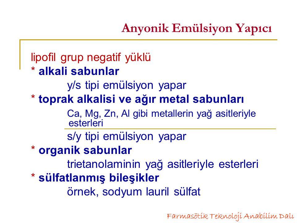 Anyonik Emülsiyon Yapıcı lipofil grup negatif yüklü * alkali sabunlar y/s tipi emülsiyon yapar * toprak alkalisi ve ağır metal sabunları Ca, Mg, Zn, Al gibi metallerin yağ asitleriyle esterleri s/y tipi emülsiyon yapar * organik sabunlar trietanolaminin yağ asitleriyle esterleri * sülfatlanmış bileşikler örnek, sodyum lauril sülfat Farmasötik Teknoloji Anabilim Dalı