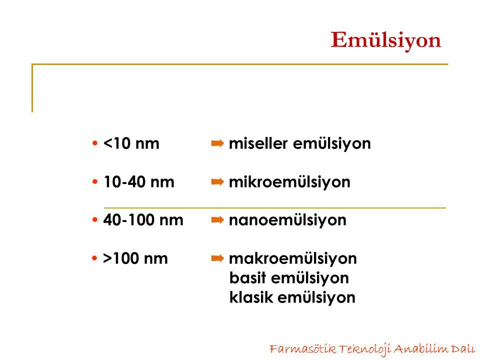 Emülsiyon  <10 nm ➡ miseller emülsiyon  10-40 nm ➡ mikroemülsiyon  40-100 nm ➡ nanoemülsiyon  >100 nm ➡ makroemülsiyon basit emülsiyon klasik emülsiyon
