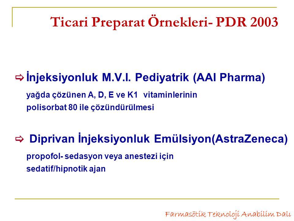 Ticari Preparat Örnekleri- PDR 2003  İnjeksiyonluk M.V.I.