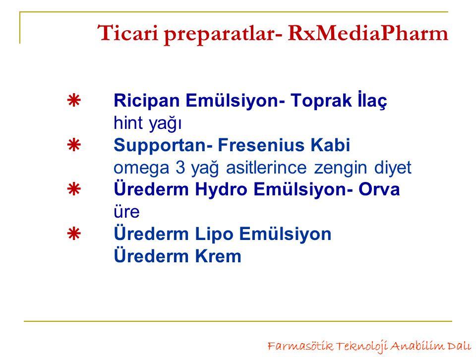  Ricipan Emülsiyon- Toprak İlaç hint yağı  Supportan- Fresenius Kabi omega 3 yağ asitlerince zengin diyet  Ürederm Hydro Emülsiyon- Orva üre  Ürederm Lipo Emülsiyon Ürederm Krem Farmasötik Teknoloji Anabilim Dalı Ticari preparatlar- RxMediaPharm