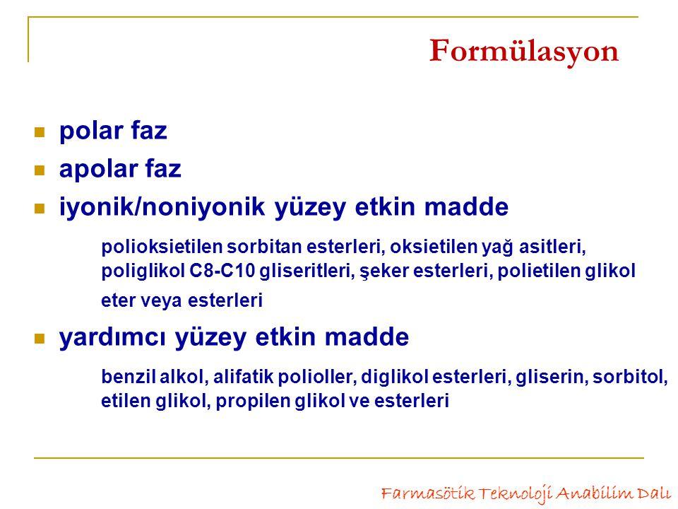 Formülasyon polar faz apolar faz iyonik/noniyonik yüzey etkin madde polioksietilen sorbitan esterleri, oksietilen yağ asitleri, poliglikol C8-C10 gliseritleri, şeker esterleri, polietilen glikol eter veya esterleri yardımcı yüzey etkin madde benzil alkol, alifatik polioller, diglikol esterleri, gliserin, sorbitol, etilen glikol, propilen glikol ve esterleri Farmasötik Teknoloji Anabilim Dalı
