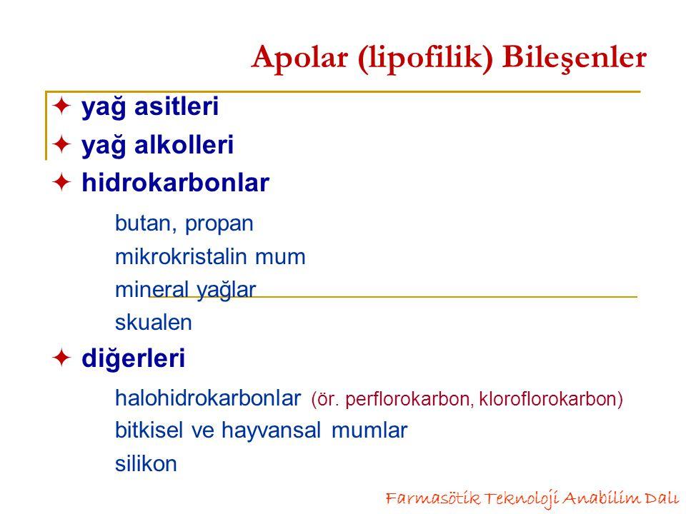 Emülsiyonlar- Faz Durumlarına Göre  dış fazı su, iç fazı yağ olanlar su-içinde-yağ (y/s), örnek: süt  dış fazı yağ, iç fazı su olanlar yağ-içinde-su (s/y), örnek: kireç linimenti çok fazlı emülsiyonlar- multipl emülsiyonlar yağ-içinde-su-içinde-yağ (y/s/y) su-içinde-yağ-içinde-su (s/y/s), örnek: influenza aşısı Farmasötik Teknoloji Anabilim Dalı