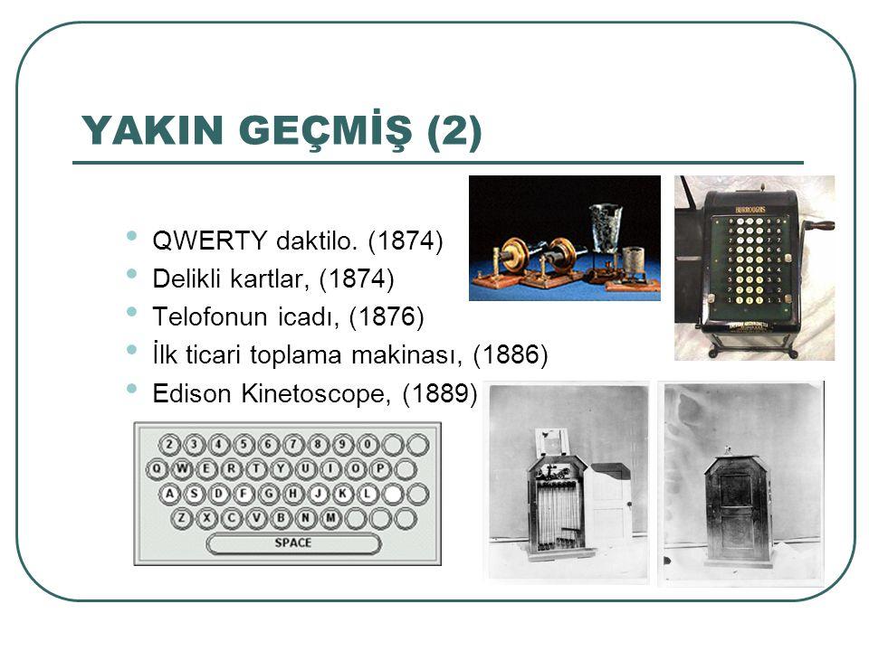 YAKIN GEÇMİŞ (2) QWERTY daktilo. (1874) Delikli kartlar, (1874) Telofonun icadı, (1876) İlk ticari toplama makinası, (1886) Edison Kinetoscope, (1889)