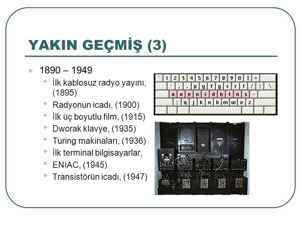 YAKIN GEÇMİŞ (3) 1890 – 1949 İlk kablosuz radyo yayını, (1895) Radyonun icadı, (1900) İlk üç boyutlu film, (1915) Dworak klavye, (1935) Turing makinal
