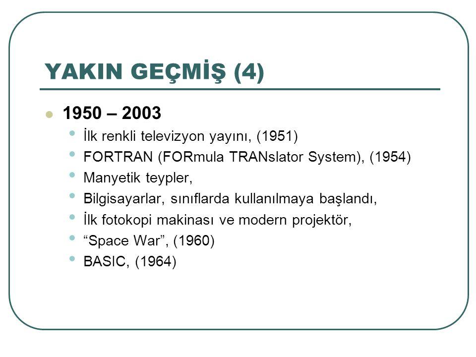 YAKIN GEÇMİŞ (4) 1950 – 2003 İlk renkli televizyon yayını, (1951) FORTRAN (FORmula TRANslator System), (1954) Manyetik teypler, Bilgisayarlar, sınıfla