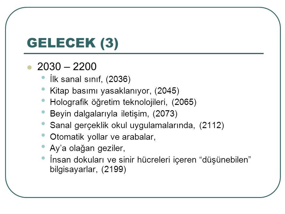 GELECEK (3) 2030 – 2200 İlk sanal sınıf, (2036) Kitap basımı yasaklanıyor, (2045) Holografik öğretim teknolojileri, (2065) Beyin dalgalarıyla iletişim