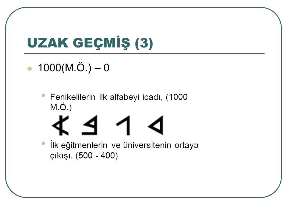 UZAK GEÇMİŞ (3) 1000(M.Ö.) – 0 Fenikelilerin ilk alfabeyi icadı, (1000 M.Ö.) İlk eğitmenlerin ve üniversitenin ortaya çıkışı. (500 - 400)